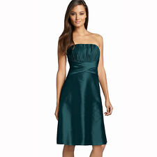 Strapless Pleated Knee Length Formal Taffeta Cocktail Party Dress Teal