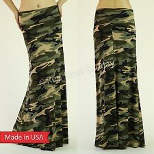 New Women Green Camouflage Army Print Fold Over Waist Flared Long Maxi Skirt USA