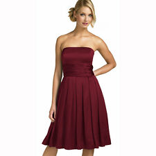 A-Line Strapless Knee Length Satin Cocktail Party Bridesmaid Prom Dress Burgundy