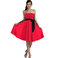 Sexy A-Line Strapless Chiffon Formal Bridesmaid Cocktail Party Dress Hot Pink