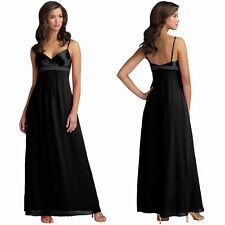 Beaded Long Chiffon Formal Evening Gown Bridesmaid Maxi Dress Black