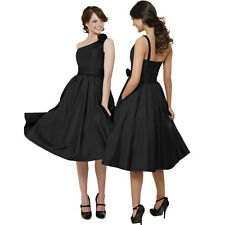 One Shoulder Taffeta Tea-Length Formal Cocktail Evening Bridesmaid Dress Black