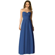 Strapless Full Length Chiffon Bridesmaids Dress Formal Evening Gown Cobalt Blue
