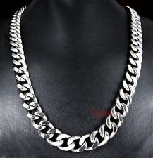 "8""-35"" Heavy Huge Silver Stainless Steel Men Curb Link Chain Necklace 15mm Width"