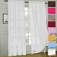 Sheer Voile Window Curtain Panels Drapes - Rod Pockets 2 Pack 60 x 84 19 Colors