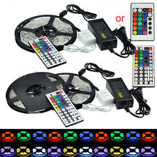5M 10M 3528 5050 SMD RGB Flexible 300/600 LED Light Strip + Remote + Adapter KIT