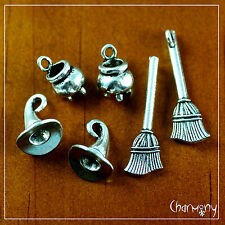 Witch's Brew charms ~ MIX/BULK cauldron broomstick hat cat bat newt spider web