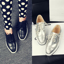 Womens Oxford Brogue Wing-Tip Hollow Out Lace-Up Leisure Platform Shoes US4.5-11