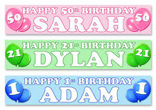 "2 x PERSONALISED BIRTHDAY BANNER 40"" long -ANY NAME 1st 18th 21st 30th 40th"