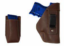 NEW Barsony Brown Leather IWB Holster + Mag Pouch for S&W, M&P Compact 9mm 40 45
