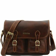 TUSCANY LEATHER italian bag for man with multifunction pockets made in Italy
