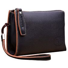 Genuine Soft Leather Casual Vintage Men Wrist Clutch Handbag Briefcase Wallet