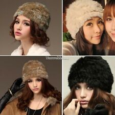 New Real Rabbit Fur Knitted Hat Cap Women Winter nice quality warm fashion SH