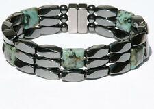 Mens Womens Magnetic Hematite Bracelet / Anklet AFRICAN TURQUOISE Strong 3 ROWS