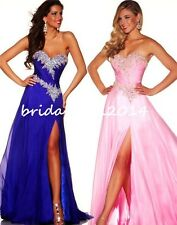 Royal Blue Beaded Side Slit Prom/Evening/Party/Formal Dress SZ 2-4-6-8-10-12-14