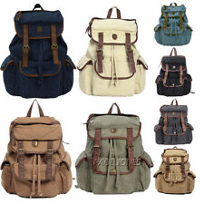 New Men's Women's Teenagers Canvas Backpack Rucksack Camping Bag Bookbag Satchel