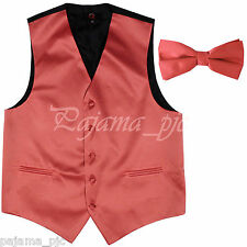 Coral XS to 6XL Solid Tuxedo Suit Dress Vest Waistcoat & Bow tie Wedding Prom