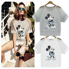Zara2014 High Quality Free Size Women European Mickey Mouse Sequin Mesh T shirt