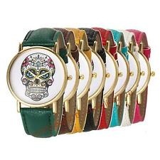 New Fashion Color SKULL Leather Band Women Analog Quartz Wrist Watch
