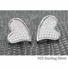 Sterling Silver Micro-Pave Cubic Zirconia CZ Crystal Heart Stud Earrings 925 SML