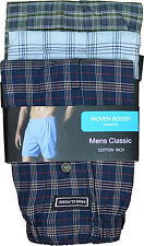MENS WOVEN BOXER SHORTS BUTTON FLY BOXERS MENS UNDERWEAR S - XL