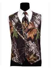 Mens Mossy Oak Tuxedo Vest Camo Skinny Tie to Tie Dress Tie Camouflage Hankie