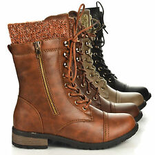 Women Ankle Military Combat Riding Boot Lace Up Cowboy Fashion Shoes Size 6-11