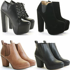 LADIES WOMENS CHUNKY BLOCK PLATFORM HIGH HEEL CHELSEA ANKLE BOOTS SHOES SIZE
