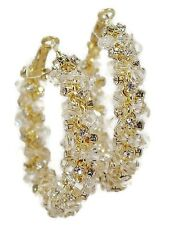 Braided Hoop Earrings 2 inch Lucite Beaded Crystal in 3 Colors
