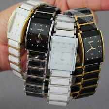 New Diamonds Elegant Men Ladies Watches Analog Quartz Wrist Watch Ceramic Steel