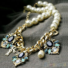 Lady Stunning Crystal Flower Pendant Pearl Beaded Chain Choker Bib Hot Necklace