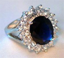 Engagement Ring Blue Sapphire Cubic Zirconia White Gold Plated