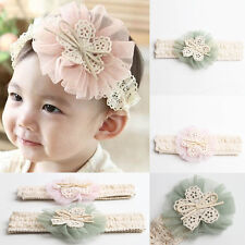 Cute Baby Girl Kid Toddler Headband Lace Flower Hairband Wedding/Christening