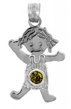 White Gold August Birthstone Round Green Peridot CZ Baby Girl Charm Pendant