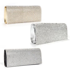 Diamante Crystal Cover Flap Clutch Leather Evening Bag Wedding Prom Handbag