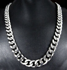 "18""-36"" 15 Heavy Huge Silver Stainless Steel Men Curb Cuban Chain Necklace Hot"