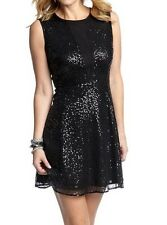 Cynthia Rowley Black Allover Sequin Fit & Flare Dress w/Screen Panel - MSRP $129