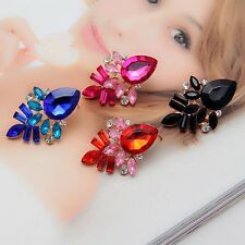 Fashion Women Rhinestone Crystal Drop  Gold Plated Ear Studs Earrings