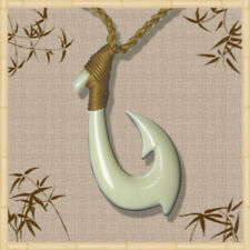 Handmade Mens Sports White Bone Fish Hook Necklace Hawaiian Pendant Jewelry