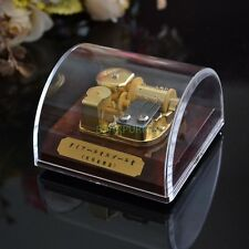 Many Songs! Large Acrylic Dome Shape Gold Movement Music Box with Stop Pause Key