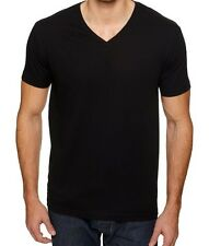 New Mens V-Neck T-Shirt 100% Cotton Plain Tee Black S-2XL