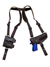 NEW Barsony Brown Leather Shoulder Holster Dbl Mag Pouch Astra Beretta Full Size