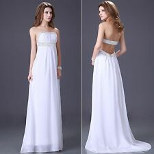 LA CHEAP FREE SHIP~ White Bridal Bridesmaid Prom Gown Long Evening Wedding Dress