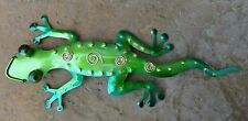 Handcrafted Metal Gecko Green Wall Sculpture Art Decor for Home Yard Backyard
