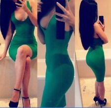 Women Sexy Bodycon Bandage Backless Dress Slim Fit Cocktail Party Clubwear green