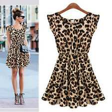 Women Sexy Leopard Summer Casual Evening ClubWear Cocktail Party Mini Dress