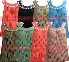 O54 New Women Lace Crochet Holey Fish Net Sleeveless Vest Top In 08-14