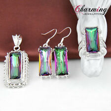 Best Christmas Gift HUGE Rainbow Fire Mystical Topaz Gemstone Silver Jewelry Set