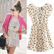 Women Spring Summer Fashion Animal Bird Print Vintage Mini Dress Short Sleeve