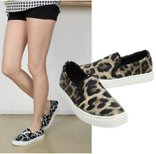 New Womens Fashion Leopard Printed Slip-on Sneakers Casual Shoes Black,Brown